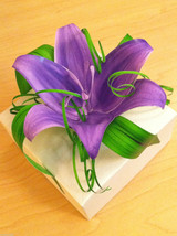 Origami White Paper Gift Box adorned w handmade Purple Lily and Greens USA made image 2