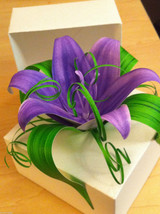 Origami White Paper Gift Box adorned w handmade Purple Lily and Greens USA made image 3