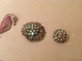 Lot of 4 different Costume Brooch Pins with crystals, assorted shapes and sizes image 3
