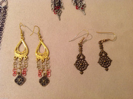 Lot of 4 pairs Gold and Silver Tone metal dangling earrings image 3