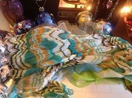 Lot of 6 gauzes greens blues teal aqua transparent translucent scarves vintage image 6
