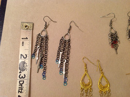 Lot of 4 pairs Gold and Silver Tone metal dangling earrings image 5