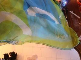 Lot of 6 gauzes greens blues teal aqua transparent translucent scarves vintage image 4