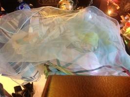 Lot of 6 gauzes greens blues teal aqua transparent translucent scarves vintage image 8