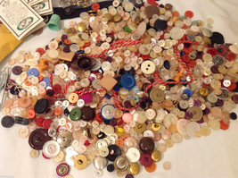 Lot of Different kind of buttons and materials for sewing and crafting image 2