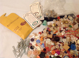 Lot of Different kind of buttons and materials for sewing and crafting image 3