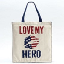 Love my Hero 100% Cotton gusseted tote carry handbag sack red white and blue  image 2