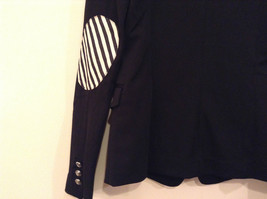 Love Tree Black with Black White Stripes Blazer Jacket Front Pockets Size M image 6