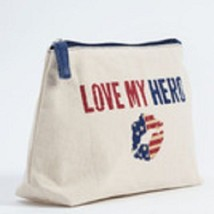 Love my Hero  travel cosmetic bag red white and blue image 3