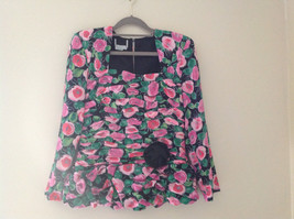 Lovely Black Pink Flowered Silk Matching Top and Skirt Set NO NAME TAG Size 6 image 2