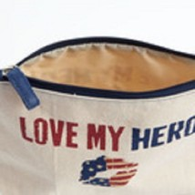Love my Hero  travel cosmetic bag red white and blue image 2
