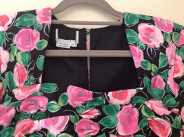 Lovely Black Pink Flowered Silk Matching Top and Skirt Set NO NAME TAG Size 6 image 4