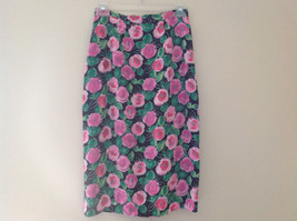 Lovely Black Pink Flowered Silk Matching Top and Skirt Set NO NAME TAG Size 6 image 7