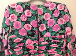 Lovely Black Pink Flowered Silk Matching Top and Skirt Set NO NAME TAG Size 6 image 5
