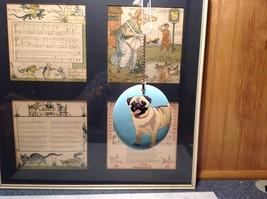 Oval Ceramic Pug Dog Light Blue Background Ornament w Metal Chain Department 56 image 2