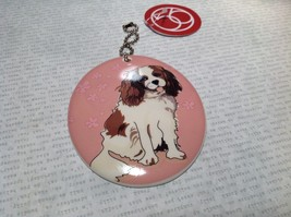Oval Ceramic Cavalier Dog Pink Background Ornament with Metal Chain Department56 image 3