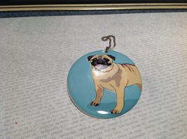 Oval Ceramic Pug Dog Light Blue Background Ornament w Metal Chain Department 56 image 3
