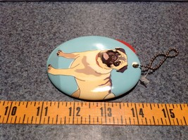 Oval Ceramic Pug Dog Light Blue Background Ornament w Metal Chain Department 56 image 4