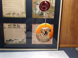 Oval Ceramic Golden Retriever Dog Ornament w Metal Chain Department 56 image 2
