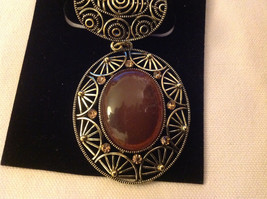 Oval Shaped Silver Gold Tone Light Brown Crystals Brown Stone Scarf  Pendant image 3