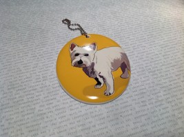 Oval Ceramic Westie Dog Yellow Background Ornament w Metal Chain Department 56 image 3