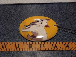 Oval Ceramic Westie Dog Yellow Background Ornament w Metal Chain Department 56 image 4