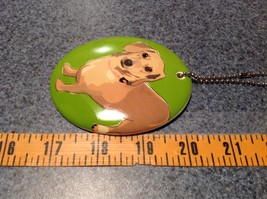 Oval Ceramic Dachshund Dog Green Background Ornament w Metal Chain Department 56 image 4