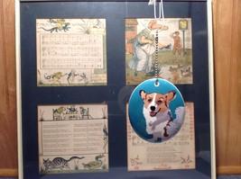 Oval Ceramic Corgi Dog Sea Blue Background Ornament w Metal Chain Department 56 image 2