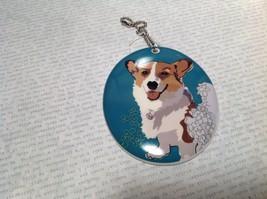 Oval Ceramic Corgi Dog Sea Blue Background Ornament w Metal Chain Department 56 image 3