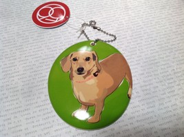 Oval Ceramic Dachshund Dog Green Background Ornament w Metal Chain Department 56 image 3