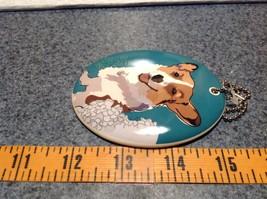 Oval Ceramic Corgi Dog Sea Blue Background Ornament w Metal Chain Department 56 image 4