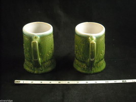 Pair of green vintage Beer Stein Mug from Germany image 5