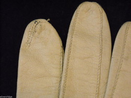 Pair of Off White Leather gloves (1950s-1960s) image 3