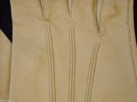 Pair of Off White Leather gloves (1950s-1960s) image 4