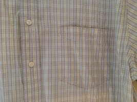 Pale Blue Pale Green Checkered Patterned Short Sleeve Shirt Eddie Bauer Size L image 3