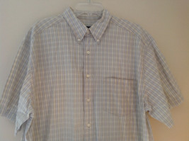 Pale Blue Pale Green Checkered Patterned Short Sleeve Shirt Eddie Bauer Size L image 2