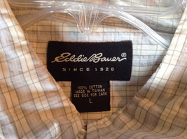 Pale Blue Pale Green Checkered Patterned Short Sleeve Shirt Eddie Bauer Size L image 7