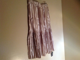 Pale Pink Calf Length Pleated Skirt Shiny Material by Magic Scarf Co. image 2