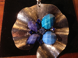 Lovely Scarf Pendant with Blue and Light Blue Stones and Crystals Silver Tone image 2