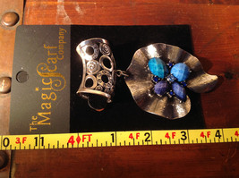 Lovely Scarf Pendant with Blue and Light Blue Stones and Crystals Silver Tone image 6