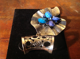 Lovely Scarf Pendant with Blue and Light Blue Stones and Crystals Silver Tone image 5