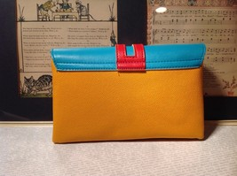 Mad About Style Yellow Teal and Red Block Clutch Bag Attachable Shoulder Strap image 2