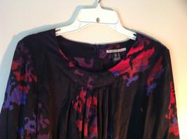 Mac and Jac Black Flowered Dress Size Medium Three Quarter Length Sleeves image 2