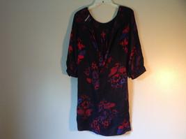 Mac and Jac Black Flowered Dress Size Medium Three Quarter Length Sleeves image 7