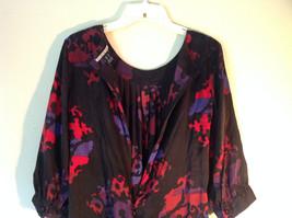 Mac and Jac Black Flowered Dress Size Medium Three Quarter Length Sleeves image 6