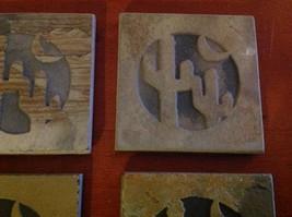 "Made in USA slate tile coaster engraved saguaro cactus crescent moon  4"" square image 3"