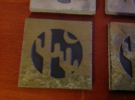 "Made in USA slate tile coaster engraved saguaro cactus crescent moon  4"" square image 5"