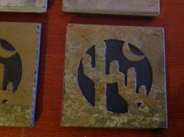 "Made in USA slate tile coaster engraved saguaro cactus crescent moon  4"" square image 4"