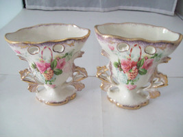 Made in England Miniature Vases in Porcelain with pink and white roses vintage image 3
