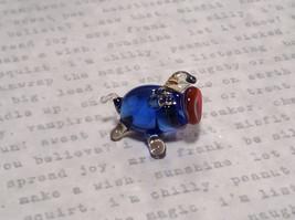 Made in USA Cute Hand Blown Glass Mini Figurine Blue Piglet image 4